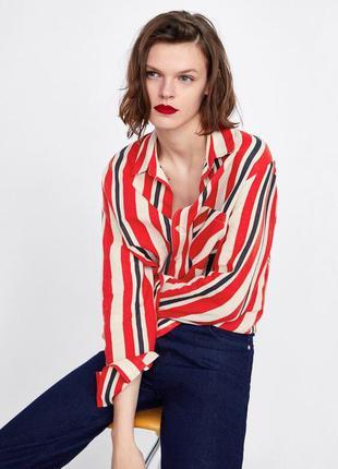 Стильная рубашка zara оверсайз в полоску лен premium collection