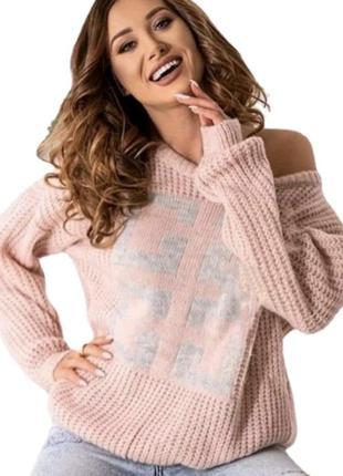 Женский вязаный свитер оверсайз