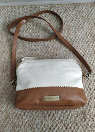 Кожаная светлая сумочка, сумка кросс боди dickins&jones