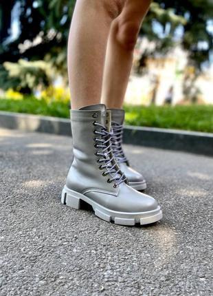 Серые ботинки женские кожаные демисезонные