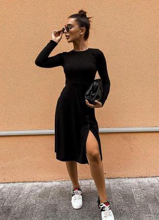Черное платье трикотаж рубчик