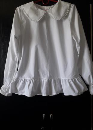 Трендовая хлопковая блуза с воротником питер пен,италия