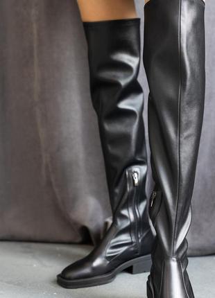 Женские ботинки кожаные весна/осень черные 105 store 900-2 на байке