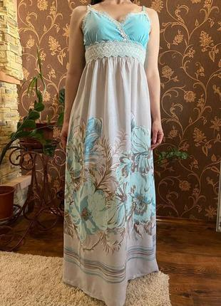 Нежно голубой сарафан в пол, сарафан макси, платье макси в пол
