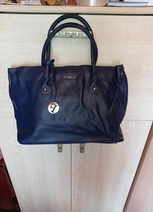 Синяя сумка на металлических ножках 41х26