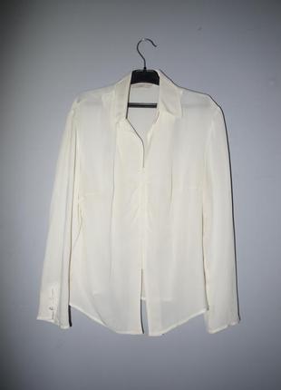 100% silk рубашка -блуза кремовая ( молочный белый ) интересный крой винтаж