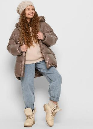 Блестящая пудровая пуховая куртка