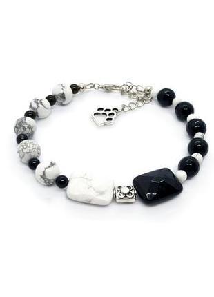 🖤🐩 монохромный оригинальный браслет натуральный камень агат и кахолонг