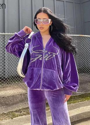 Спортивный костюм бархатный велюровый плюшевый фиолетовый домашний штаны