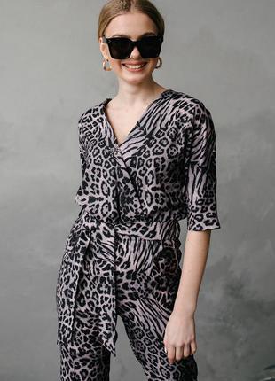 Комбинезон женский, брючный, леопардовый, 42, 44, 46, 48, хс, с, м, л