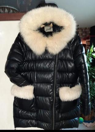Зимний тёплый кожаный пуховик / зимняя тёплая курточка  / зимняя куртка