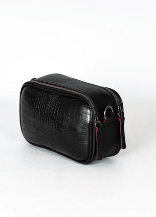 Маленькая черная сумочка кросс боди мини сумка через плечо под крокодила два отделения