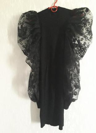 Платье с ажурным рукавом, s-m