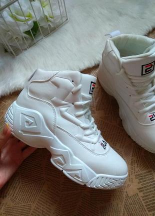 Білі кросівки fila / високі кросівки білі / кеди