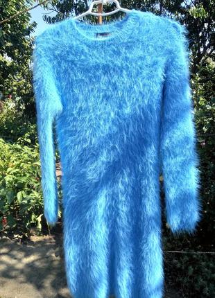 """Голубое трикотажное платье """"травка"""" primark"""