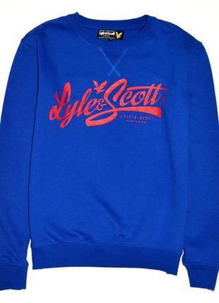 Lyle scott свитшот цвета електрик с надписью красным. 12-13 лет рост 152-158 см