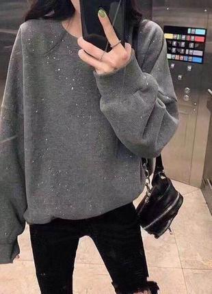 Свитер джемпер кофта пуловер худи с блёсточками оверсайз
