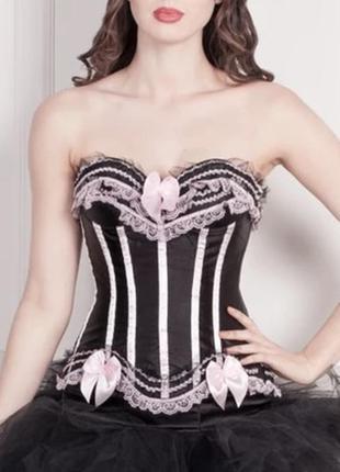 Корсет атласный черный с розовыми бантиками
