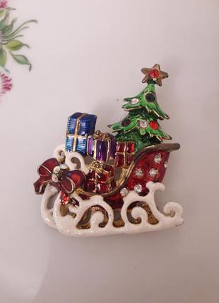 Брошь из сша рождество, новый год, ёлочка, санки,подарок