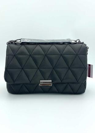 Жіноча сумка перешита (чорна). женская сумка стеганая.