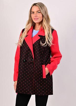Женское стильное демисезонное пальто в горошек, см.замеры в описании товара