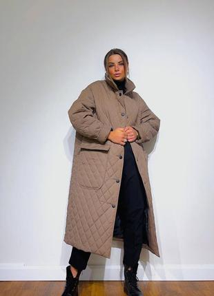 100% хит сезона стеганное удлиненное пальто в цвете мокко ❤️шикарный вариант идеальные под любой стиль одежды  размер оверсайз