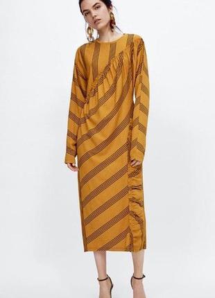 Платье миди с рюшами zara!