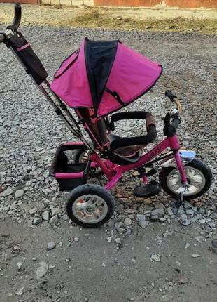Детский велосипед с ручкой+машинка толокар в подарок