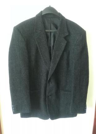 Пиджак черный твидовый, 100% шерсть, l-xl, andersons london