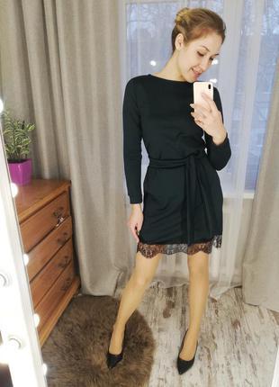 Распродажа- платье с кружевом, платье мини, красивое платье осень-зима