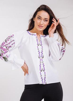 Вышиванка , вишиванка 44 размер, белая вышиванка с цветами , льняная блуза ,