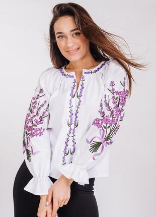 Вишиванка , белая вышиванка с цветами , льняная блуза ,