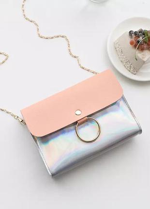 Маленькая компактная голографическая сумочка блестящая лаковая клатч сумка через плечо на цепочке