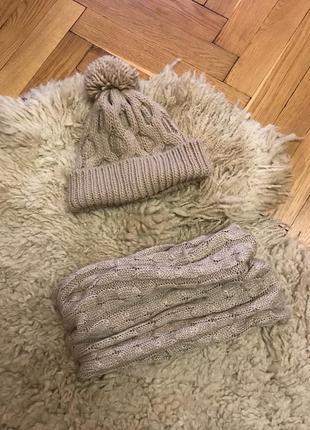Комплект шапка и хомут, шапка женская шарф хомут шапочка zara шапка шарф хомут