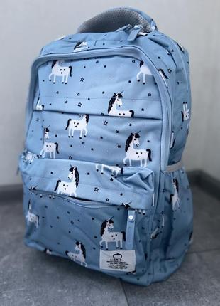 Качественный школьный рюкзак портфель сумка с единорогами голубой единорожками