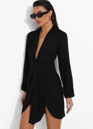 Платье-рубашка черного цвета