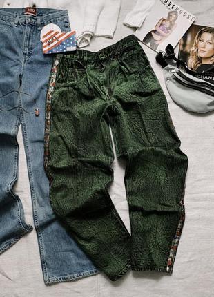 Винтажные изумрудные джинсы buggy с лампасами lee зеленые багги