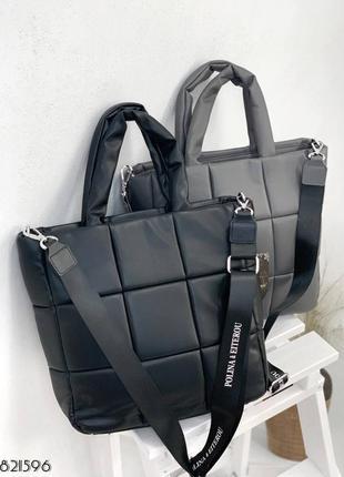 Кожаная сумка с ручками. квадраты. 2 отдела