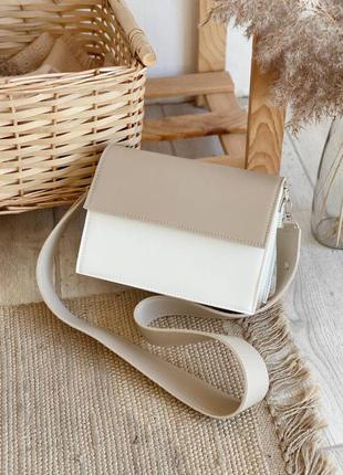 Клатч базовый лаконичный с нахлестом на магнитах белый+