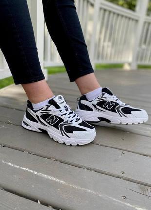 New balance 530 black white кроссовки нью баланс наложенный платёж