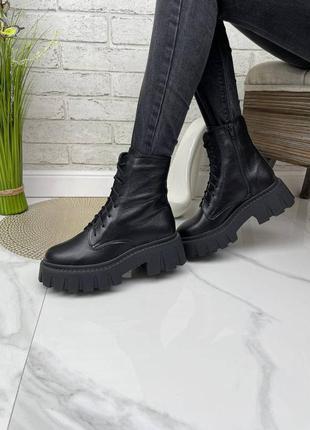 36-41 рр деми/зима высокие ботинки на платформе натуральная кожа