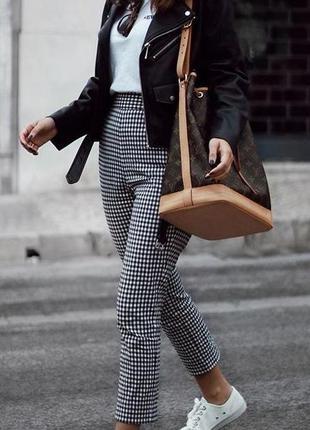 Идеальное брюки в клетку,высокая посадка,узкие,стрейчевые,зауженные,штаны,штани,в клітинку скини,лосины
