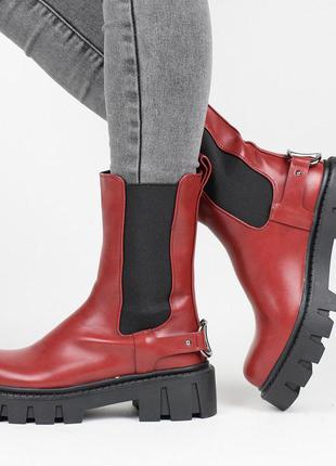 Стильные бордовые осенние деми ботинки на тракторной подошве резинке челси модные сапоги