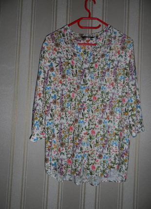 Блуза средний рукав цветочный принт / размер 44 // xxl  вискоза
