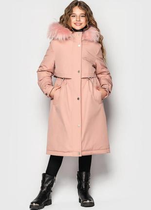 Пальто, зимняя куртка- парка для девочки айрин тм cvetcov размеры 128- 164