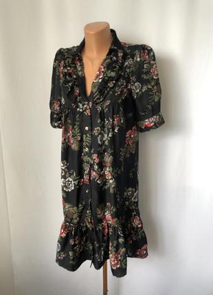 Винтаж платье летнее цветы на черном фоне купро