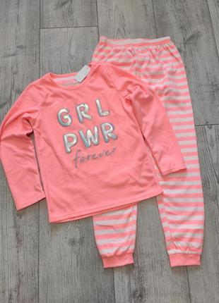 Флисовая неоновая пижама primark 146 см