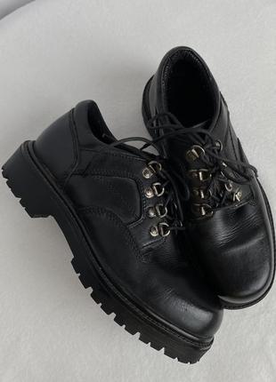 Шкіряні грубі туфлі/броги вінтаж 26 см
