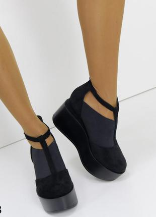 Женские шикарные черные туфли на платформе