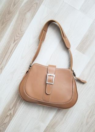 Шикарная кожаная сумка на плечо хобо винтажная сумка цвета кэмэл бежевая сумка